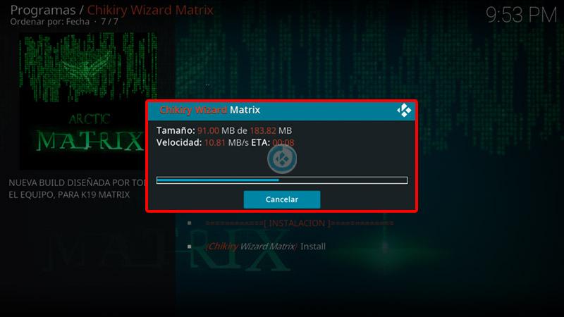 build artic matrix en kodi