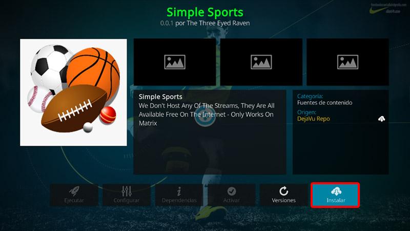 addon simple sports en kodi