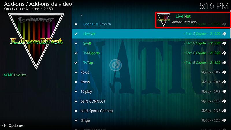 addon live net en Kodi