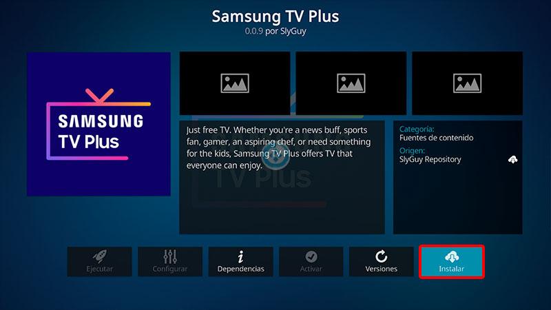 samsung tv plus en kodi